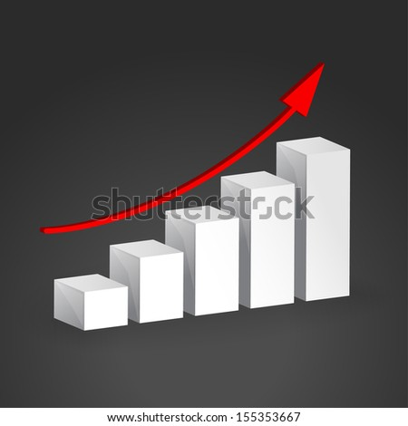 3D Growth bar graph. Business concept. This is raster version. - stock photo