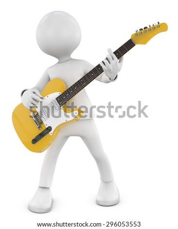 3d Guitarist man plays on the yellow electric guitar - stock photo