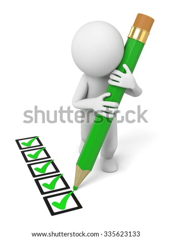 3D guy and a multiple choice questions - stock photo