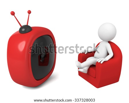 3D guy is watching TV - stock photo