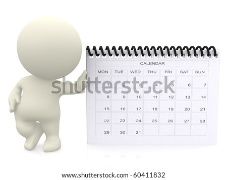 3D guy leaning on a calendar - isolated over a white background - stock photo