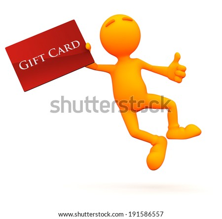 3d Guy: Man Jumping For Joy With Gift Card - stock photo
