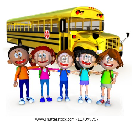 3D guys going to school by bus - isolated over a white background - stock photo