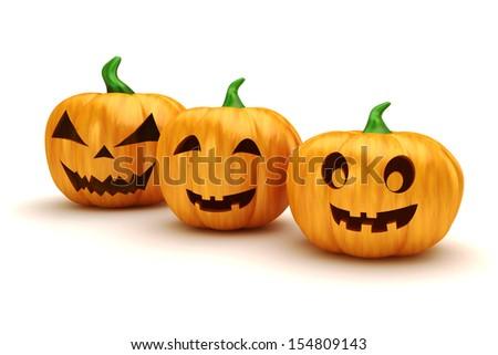 3d halloween pumpkins on white background - stock photo
