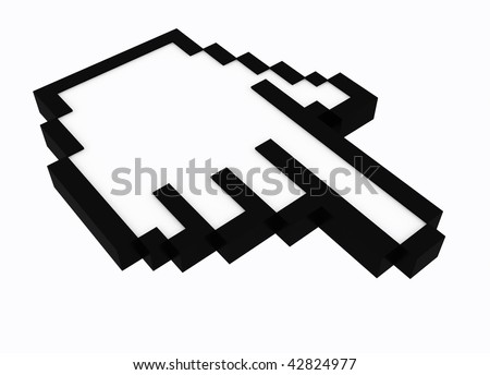 3d hand cursor isolated on white background - stock photo