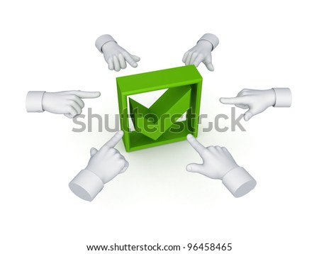 3d hand cursors around green tick mark.Isolated on white background. - stock photo