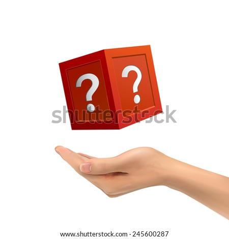 3d hand holding mysterious box over white background - stock photo