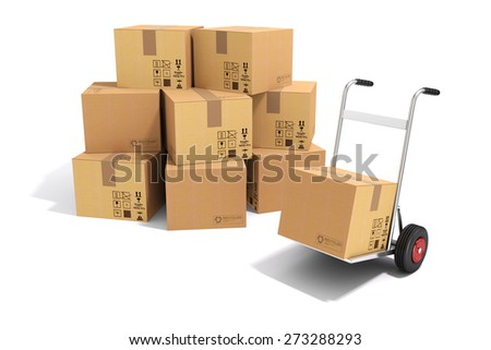 3d hand truck and cardboard boxes on white background - stock photo