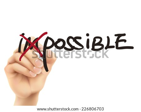 3d hand turning the word impossible into possible over white background - stock photo
