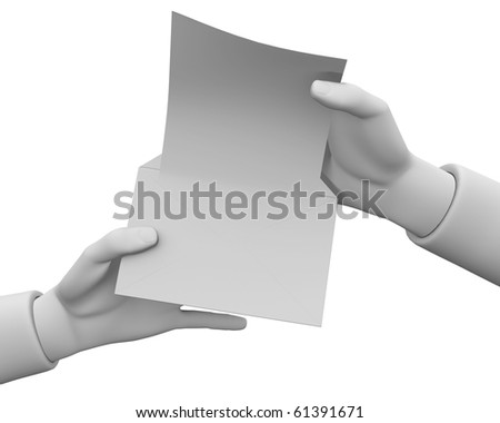 3d hands open the envelope with a white sheet on a white background. - stock photo