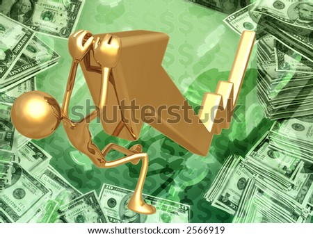 3D Hanging On Market Arrow Concept - stock photo