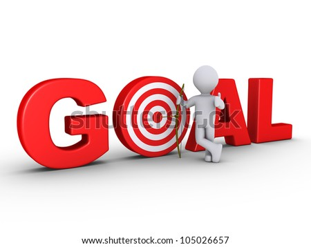 3d happy archer with arrow that is at center of red GOAL - target - stock photo