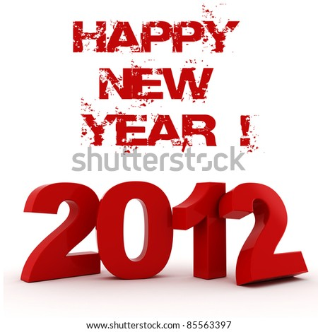 3d - 2012, Happy New Year ! - stock photo