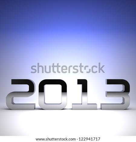 3D happy new year chrome 2013 - stock photo