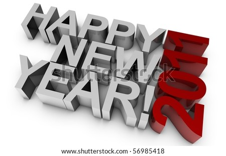 3D happy new year for the year 2011. - stock photo
