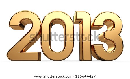 3D happy new year golden 2013... - stock photo