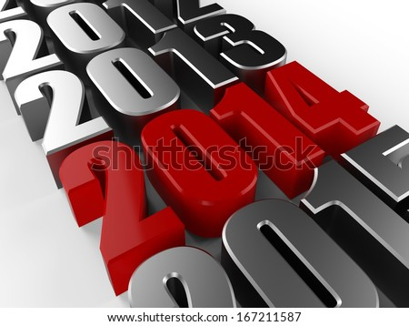 3D happy new year red 2014 - stock photo