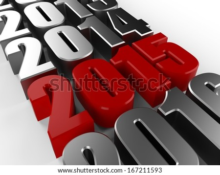3D happy new year red 2015 - stock photo