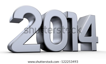 3D happy new year silver 2014 - stock photo