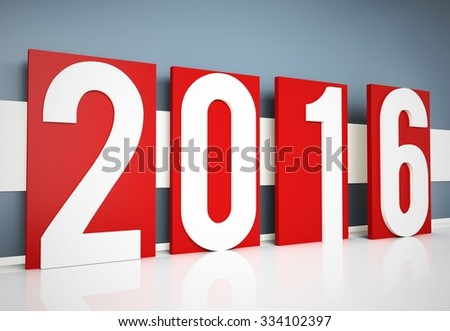 3d happy new year 2016 text  near the wall - stock photo
