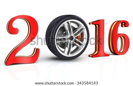 3d happy new year 2016 with car wheel on white background - stock photo