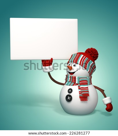 3d happy snowman holding blank banner, winter holiday greeting template - stock photo