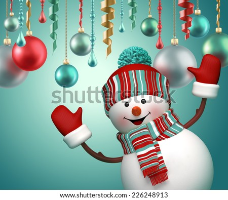 3d happy snowman party, celebrating new year holiday background - stock photo