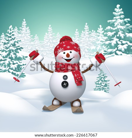 3d happy snowman skiing, winter holiday background, outdoor activity - stock photo