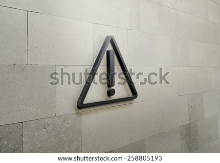 3D Hazard warning attention sign with exclamation mark symbol on the brick wall background  - stock photo