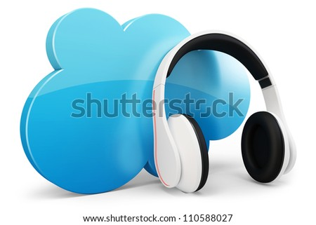 3d headphone with cloud music concept on white background - stock photo