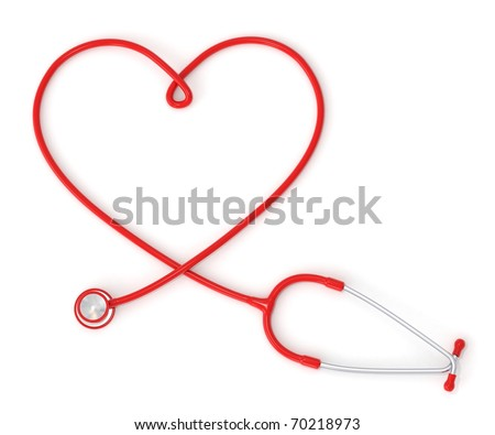 3d heart-shaped stethoscope - stock photo