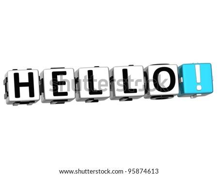 3D Hello block text on white background - stock photo