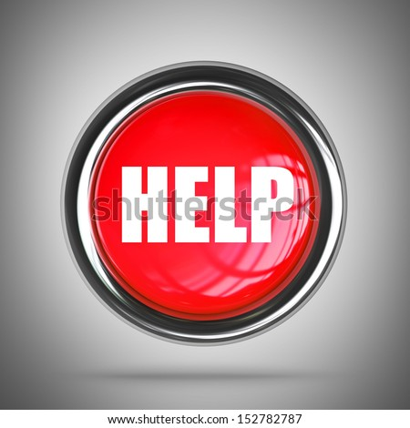 3D help button in metal frame High resolution  - stock photo