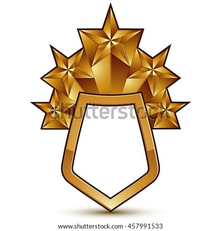 3d heraldic template with polygonal golden star, dimensional royal geometric blazon isolated on white background. Complicated glossy symbol. - stock photo