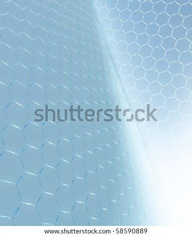 3d hi-tech blue hexagons - stock photo