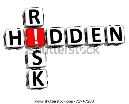 3D Hidden Risk Crossword on white background - stock photo