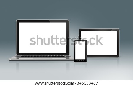 3D High Tech laptop, mobile phone and digital tablet pc - isolated on a futuristic background with clipping path - stock photo