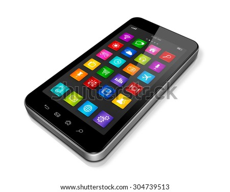 3D High Tech smartphone, mobile phone with apps icons interface - isolated on white with clipping path - stock photo