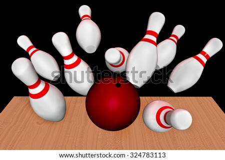 3d hitting, bowling - stock photo