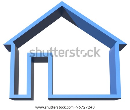 3d home sign isolated on white - stock photo