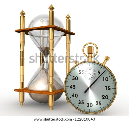 3d Hourglass and stopwatch - stock photo