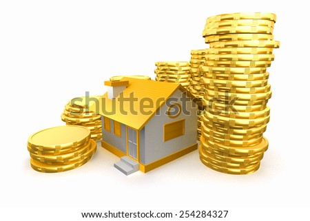 3d house around with coin stack. Real estate. - stock photo