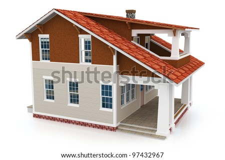 3d house generic rendered  on white  background - stock photo