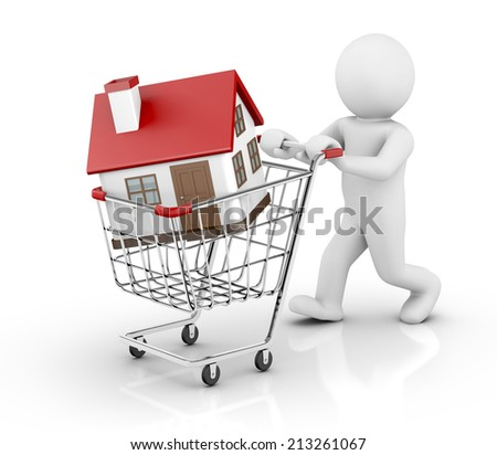 3d house in a shopping cart isolated on white background - stock photo
