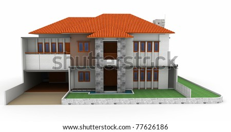 3d house isolated on white rendered generic - stock photo