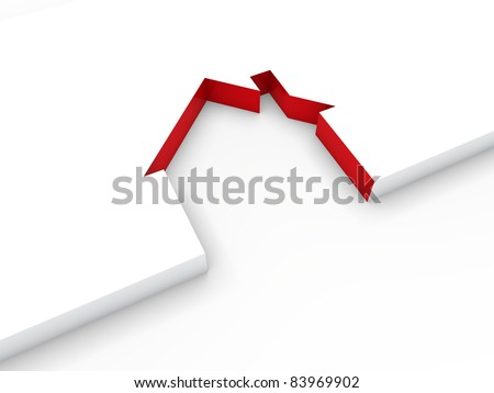 3d house line red white home estate - stock photo
