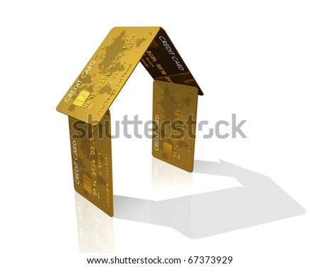 3D house made of credit cards - real estate symbol - stock photo