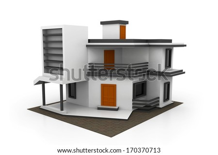 3d house model - stock photo