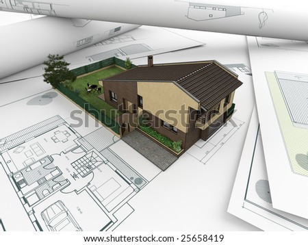 3D house model emerging from architectural drawings - stock photo