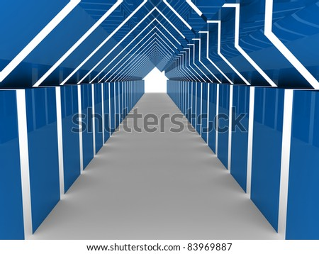 3d house tunnel blue home estate business - stock photo